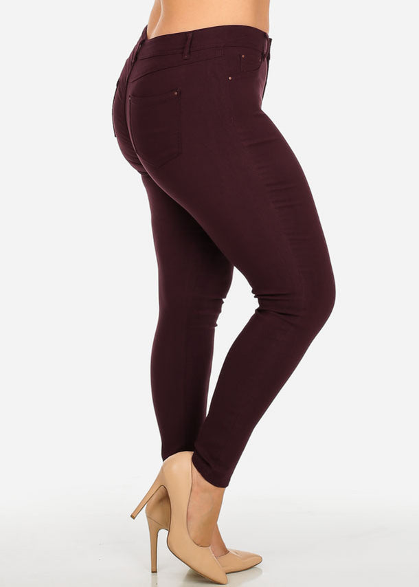 Burgundy One-Button Stretchy Skinny Pants