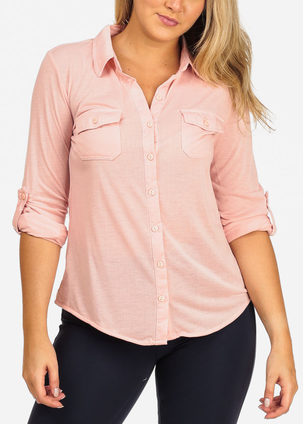 Women's Junior Ladies Casual Formal Business Career Wear 3/4 Sleeve Button Up Blush Shirt