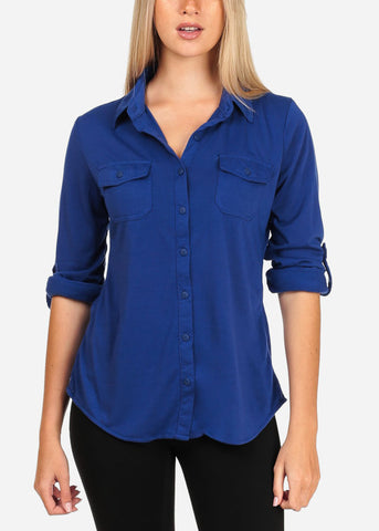 Women's Junior Lady Casual Formal Business Career Wear 3/4 Sleeve Button Up Blue Shirt