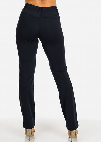 Solid High Waist Dressy Pants (Navy)