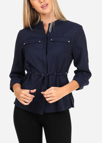Women's Junior Lady Casual Going Out Stylish Cute Chiffon 3/4 Sleeve Navy Blouse With Lace Up Detail