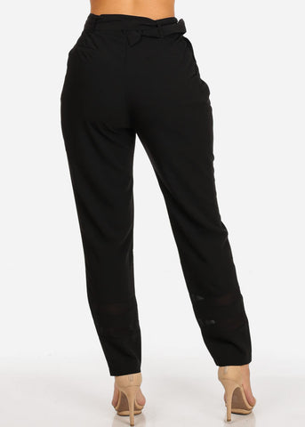 Image of Chiffon Black Pant W Belt
