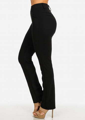 Solid High Waist Dressy Pants (Black)