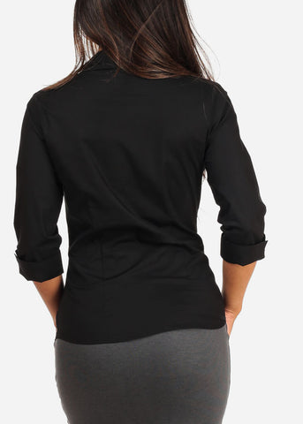 Image of Office Business Wear Button Up 3/4 Sleeve Black Shirt Top