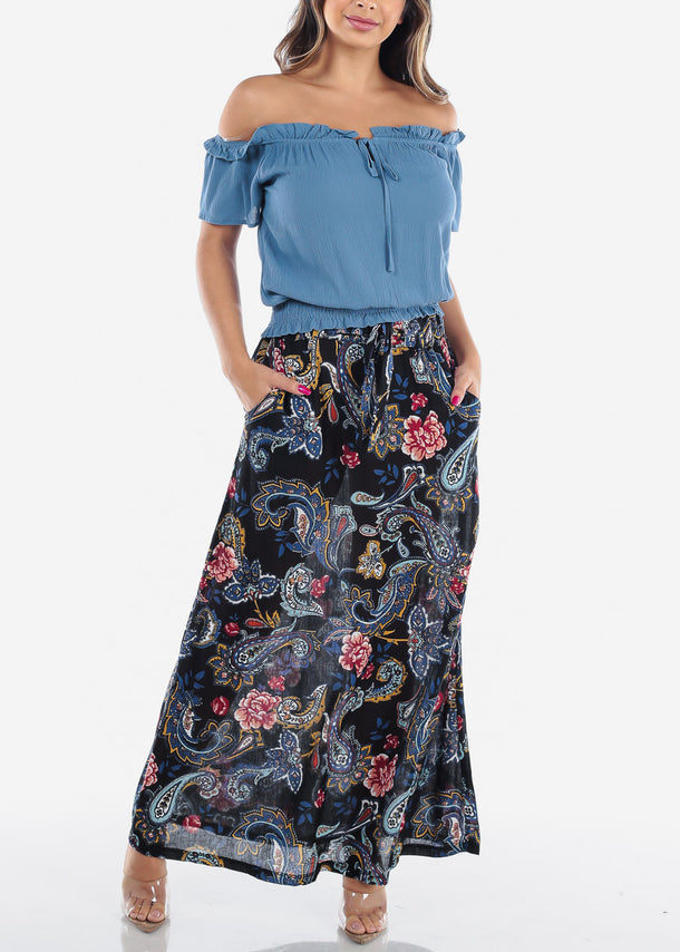 Lightweight Black Floral Maxi Skirt