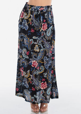 Women's Junior Ladies Cute Must Have Stylish Black Floral Print High Waisted Maxi Skirt