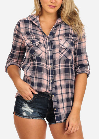 Women's Junior Ladies Stylish Pink And Navy Plaid Print 3/4 Roll Up Sleeve Button Up Shirt Top With Hoody