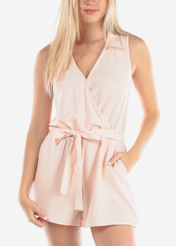 Women's Junior Ladies Going Out Casual Sleeveless Wrap Front Light Pink Blush Romper With Tie Belt