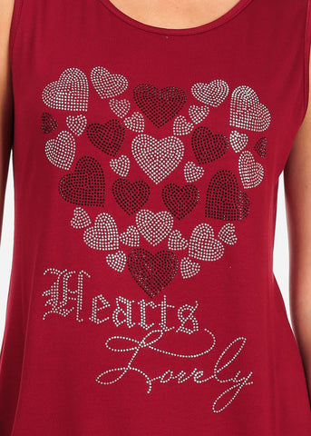 Image of Women's Junior Casual Super Stretchy Sleeveless Rhinestone Hearts Lovely Print Red Tunic Top