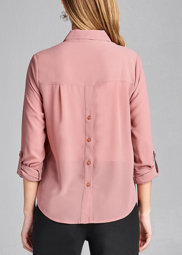 Pink Button Up Blouse Top