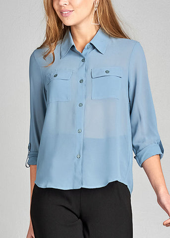 Image of Office Business Wear 3/4 Sleeve Button Up Light Blue Blouse Top