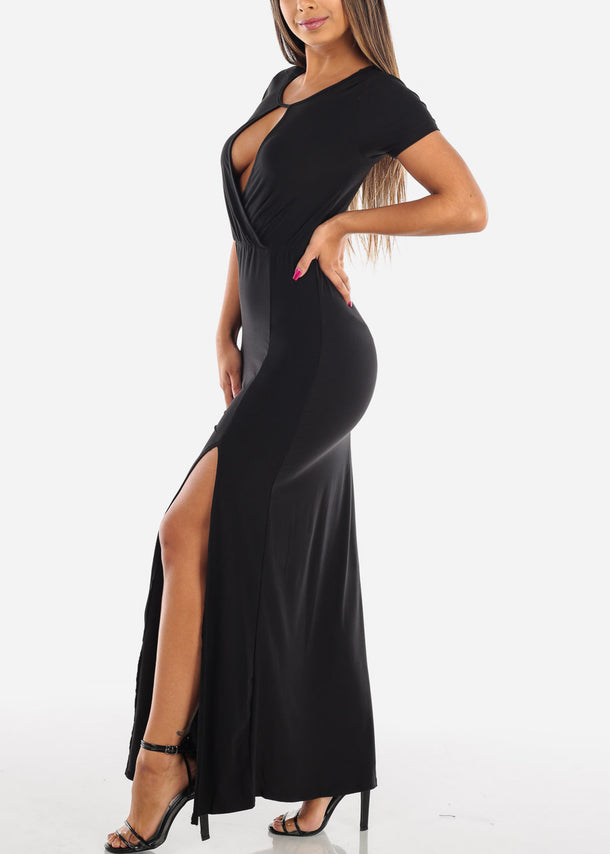 Sexy Stylish Cute Short Sleeve Flowy Wrap Front Long Maxi Solid Black Summer Dress For Women Ladies Junior On Sale