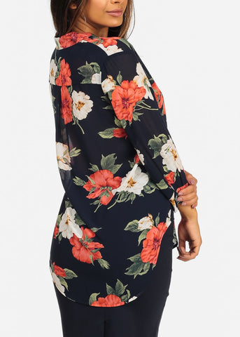 See-through Navy Floral Red Print Blouse
