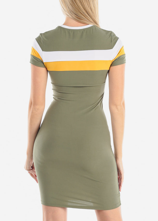 Striped Olive Bodycon Midi Dress