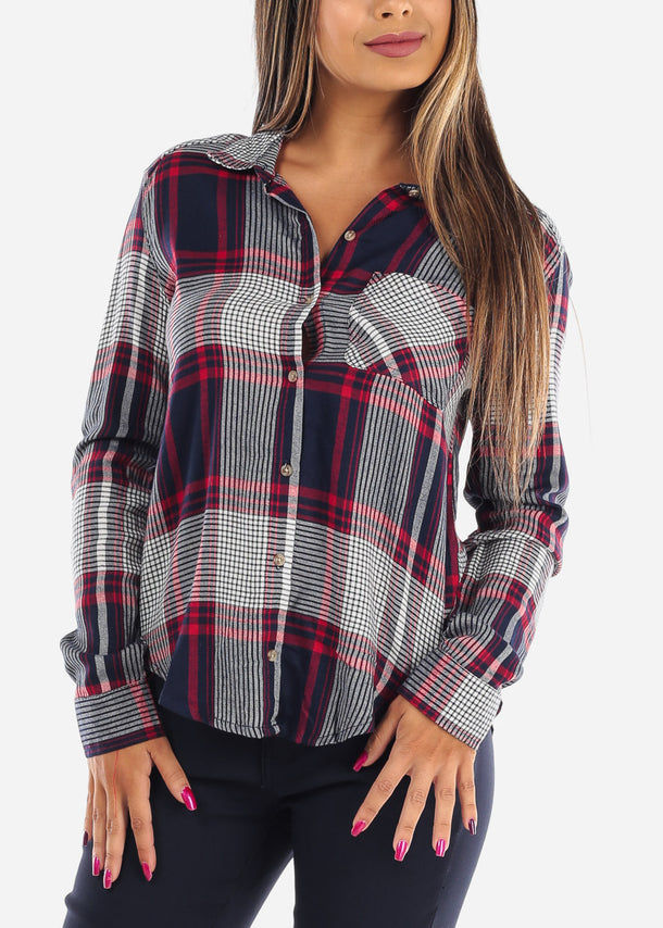 Long Sleeve Multi Color Plaid Print Flannel Shirts Button Up Shirt Top For Women Ladies Junior On Sale Office Business Career Wear