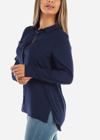 Solid Navy Button Up Long Sleeve 2 Front Pockets Lightweight Shirt Office Business Career Wear For Women Ladies Junior On Sale