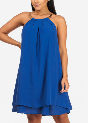 Sexy Halter Gold Necklace Royal Blue Chiffon Dress
