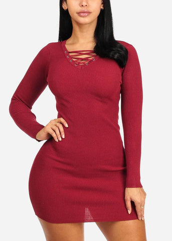 Red Lace Up Mini Knitted Dress