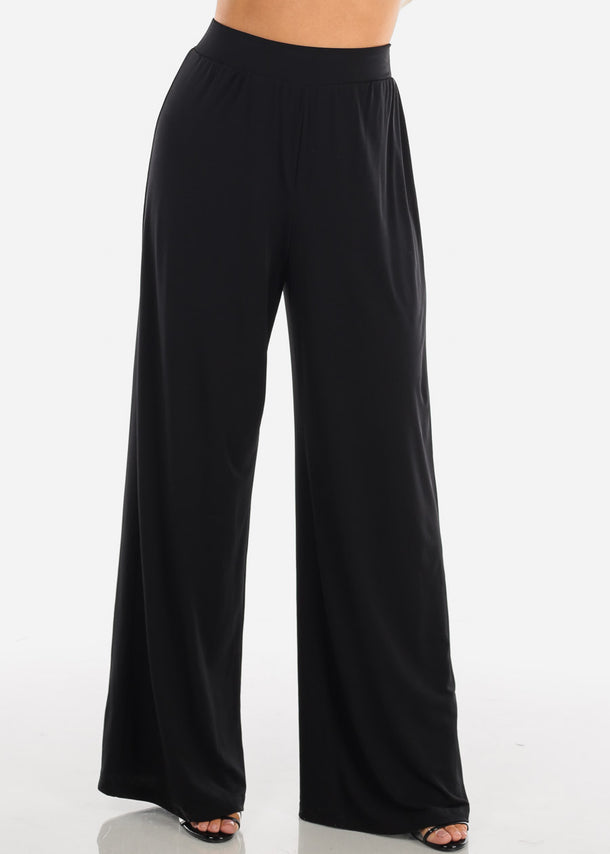 Stylish Comfortable Super Wide Leg Solid Black Palazzo Pants For Women Ladies Junior On Sale Affordable Prices