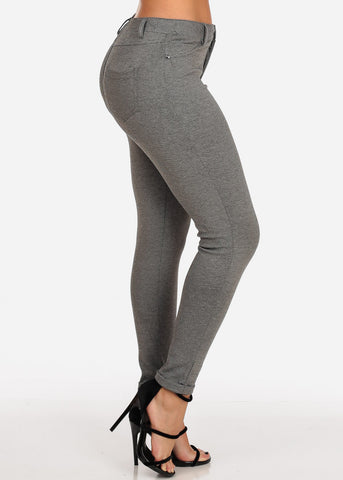 Women's Junior Ladies Going Out Mid Rise 1 Button Grey Stretchy Pants