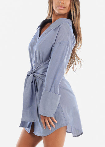 Image of Front Tie Stripe Blue Dress