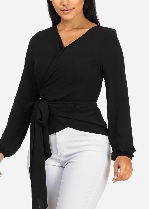 Long Sleeve Wrap Front Black Lightweight Top