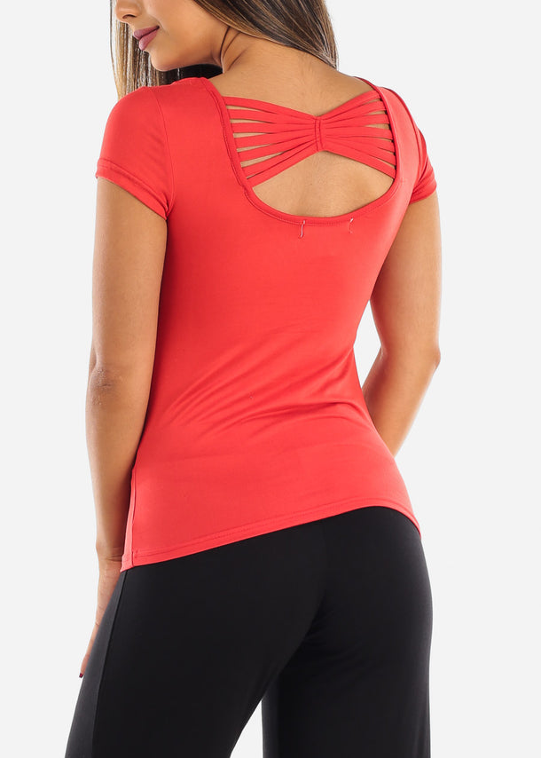 Casual Cute Essential Red Stretchy Top With back Multi Straps For Women Ladies On Sale