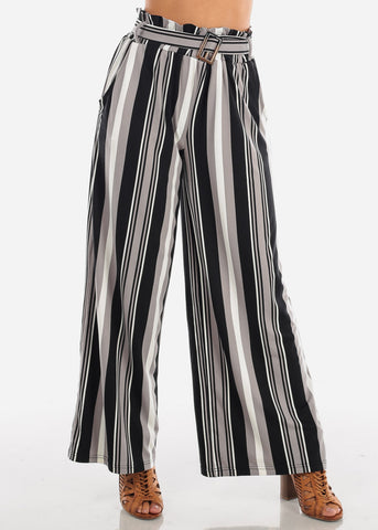 Sexy Trendy Ultra High Waisted Black Stripe Multi Color Wide Legged Palazzo Pants For Women Ladies Junior On Sale Miami Style 2019 New Modaxpress