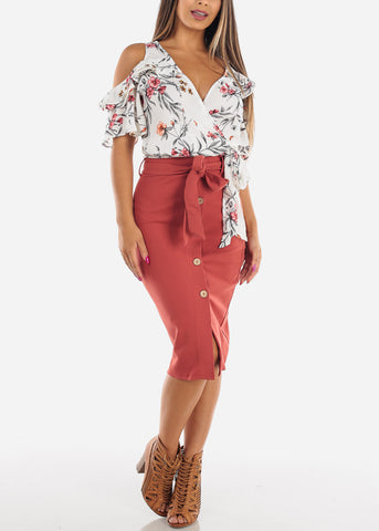 High Waisted Button Down Brick Midi Skirt With Tie Belt For Women Ladies Junior Office Business Career Wear At Affordable Price On Sale