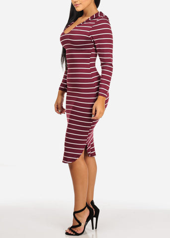 Stripe Bodycon Burgundy Dress