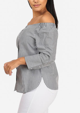 Off Shoulder Button Up Slit Sides Stripe Top