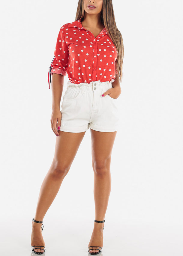Red Polka Dot Button Up Shirt