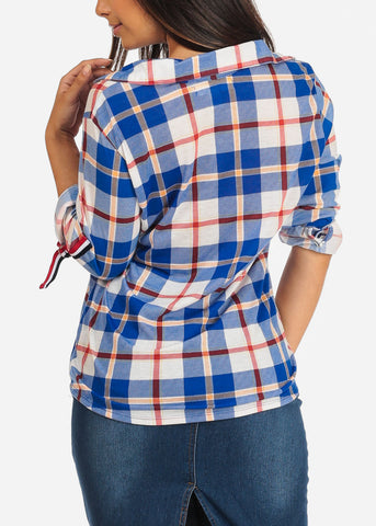 Women's Junior Ladies Stylish Dressy Casual 3/4 Sleeve Blue Plaid Print Button Up Shirt Top