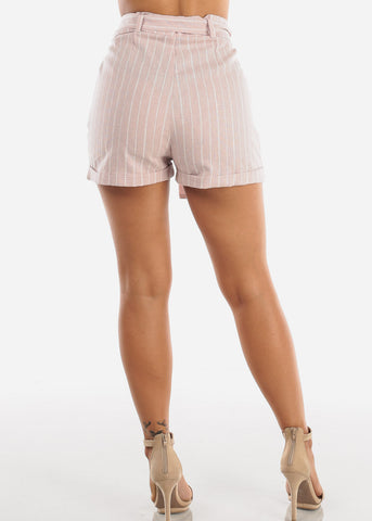 Cute Lightweight Linen Grey And White Stripe High Waisted Paper Bag Shorts With Tie Belt For Women Ladies Junior
