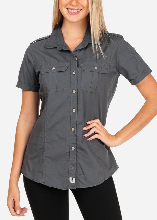 Women's Junior Lady Casual Formal Professional Business Career Wear short Sleeve Button Up Grey Shirt
