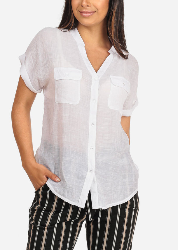 Women's Junior Ladies Stylish Casual Lightweight Flowy See Through Button Up White Blouse Top