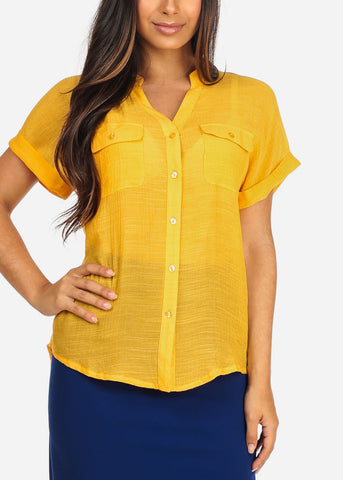 Women's Junior Ladies Stylish Casual Lightweight Flowy See Through Button Up Light Orange Blouse Top