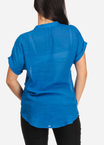 Image of Women's Junior Ladies Stylish Casual Lightweight Flowy See Through Button Up Royal Blue Blouse Top