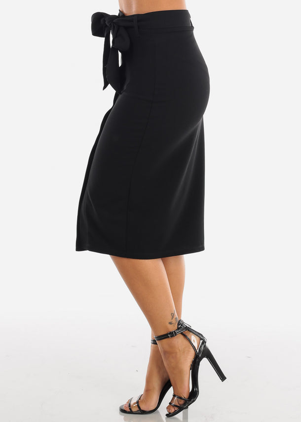 Button Down Black Midi Skirt