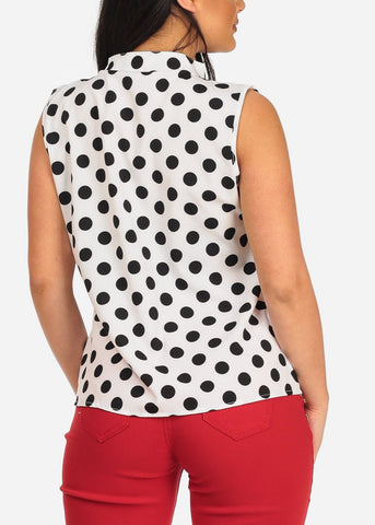 Image of Women's Junior Ladies Classy Stylish White Polka Dot Lightweight Blouse Top