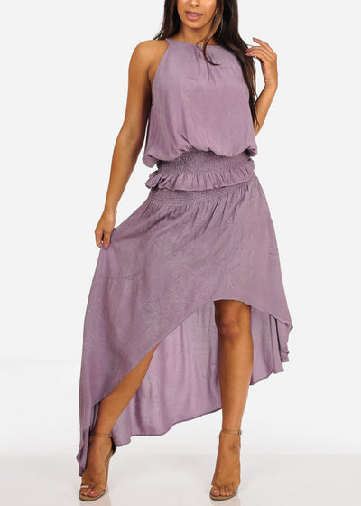 Orchid Lightweight Sleeveless Top And High Rise High Low Skirt