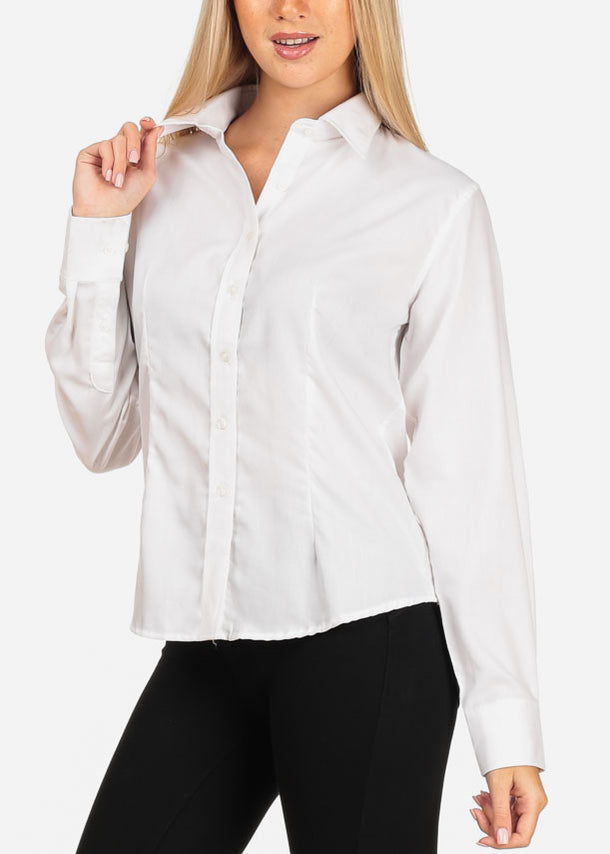 Women's Junior Lady Casual Formal Professional Business Career Wear Long Sleeve White Shirt Blouse
