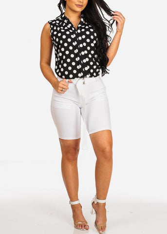 Image of Cute Stylish Sexy Black Polka Dot Top
