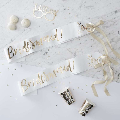 Ginger Ray White & Gold Bridesmaid Sashes Pack of 2