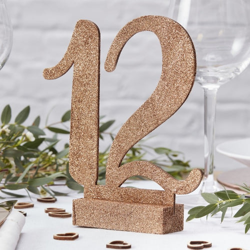 Ginger Ray Rose Gold Glitter Wedding Table Numbers 1-12