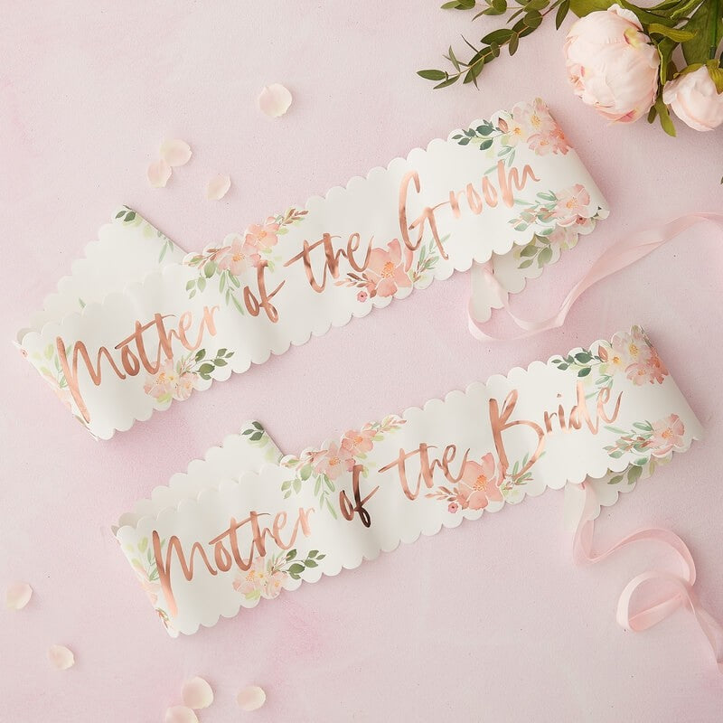 Ginger Ray Floral Mother of the Bride & Groom Sashes Pack of 2