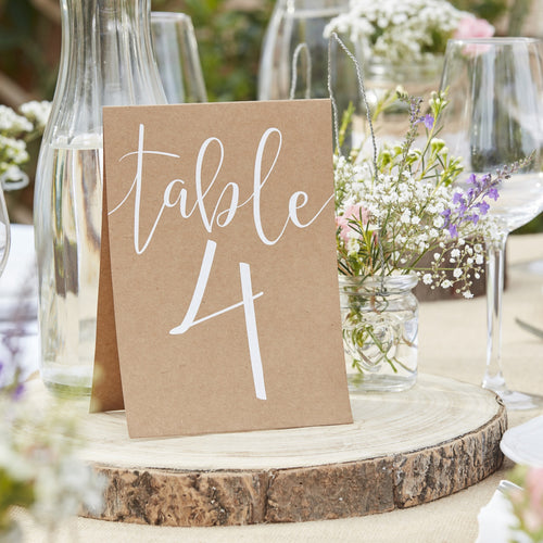 Ginger Ray Kraft Table Numbers Tent Cards 1-12