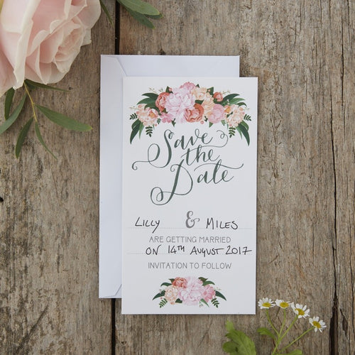 Ginger Ray Hand Illustrated Floral Save The Date Cards