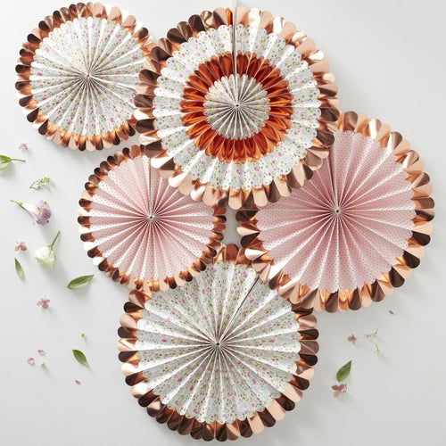 Ginger Ray rose gold foiled floral fan decorations