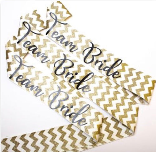 Nora & Katie Team Bride Gold Sashes Set of 3